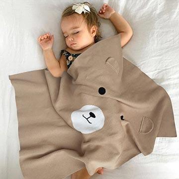 Baby unicorn 咖啡小熊針織嬰兒毯攜帶毯