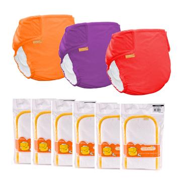 【COTEX可透舒】DB500基礎款 布尿布-夜間半日入門組 (3件外兜+6片夜用型吸尿墊)
