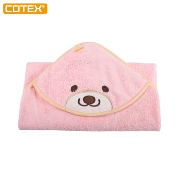 COTEX微笑貝爾熊浴包巾(粉紅)
