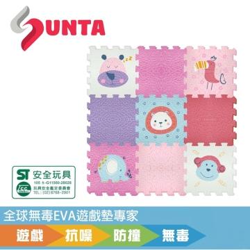 《SUNTA拼接爬行墊》可愛動物(A) EVA樂扣遊戲墊-30*30*1cm(9片裝)
