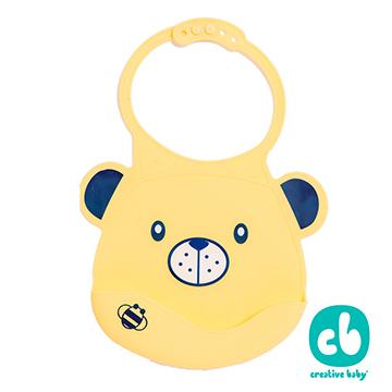 Creative Baby可收納式攜帶防水無毒矽膠學習圍兜-黃色小熊(Silicone Bids)