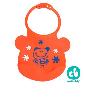 Creative Baby可收納式攜帶防水無毒矽膠學習圍兜-活力寶貝(Silicone Bids)