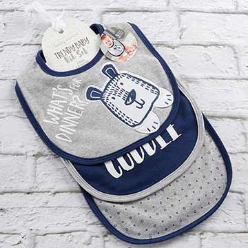 Baby Aspen BAS 藍灰OX小熊圍兜口水巾3入組 BA15186BL