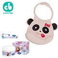 Creative Baby可收納式攜帶防水無毒矽膠學習圍兜+冰雪奇緣護舒緩乳霜/可愛熊貓
