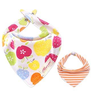 Baby unicorn 彩色蘋果橘條紋純棉雙面三角造型圍兜口水巾