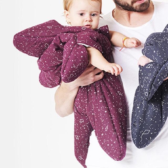 【西班牙製】(輕量版) 鯊魚咬一口 BabyBites 100% 純棉手作嬰兒睡袋|防踢被|包巾{海星} - 葡萄紅