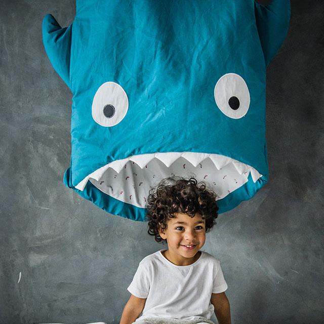 【西班牙製】鯊魚咬一口 BabyBites 100% 純棉手作嬰兒/幼兒園睡袋|防踢被《兒童版》土耳其藍