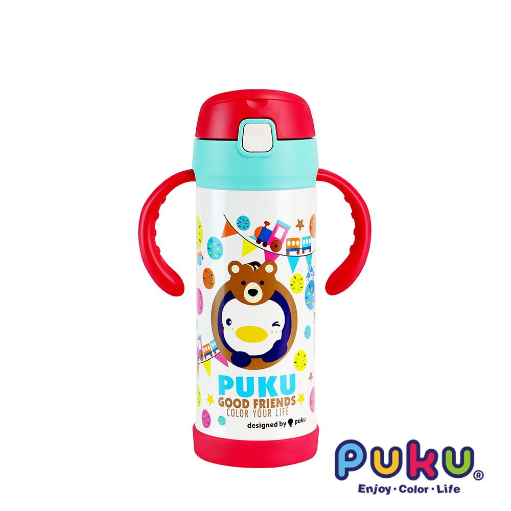 PUKU_藍色企鵝 不鏽鋼兩用吸管水瓶350ml_小熊白