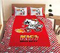 【HELLO KITTY】凱蒂貓KISS熱火單人床包二件組-奔馳腳踏車篇3.5x6.2尺(105x186公分)