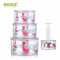 BERZ英國貝氏 真空保鮮盒密封罐3件組 送真空抽取棒 (蜜桃粉)