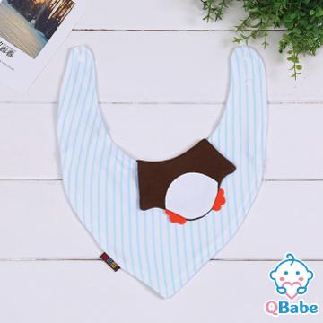 【QBabe】純棉可愛動物造型三角圍兜口水巾-企鵝