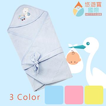 【悠遊寶國際-MIT手作的溫柔】棉柔壓花透氣抱毯/包巾 - 天空藍