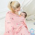 【QBabe】雙層紗竹纖維嬰兒包被浴巾 120x120-火烈鳥