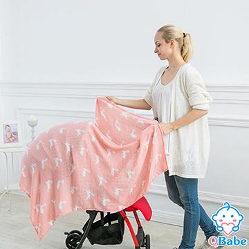 【QBabe】雙層紗竹纖維嬰兒包被浴巾 120x120-奔跑兔