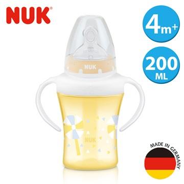 【NUK】200ml寬口徑雙柄透明學習杯,附1號寬口徑矽膠奶嘴中圓洞