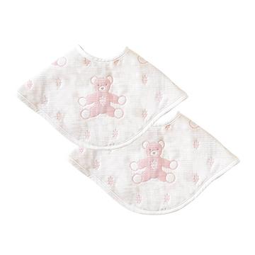 SOULEIADO 六層紗拍嗝巾圍兜-童趣熊(粉紅)