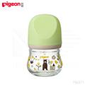 日本《Pigeon 貝親》寬口母乳實感玻璃奶瓶80ml(熊/綠)