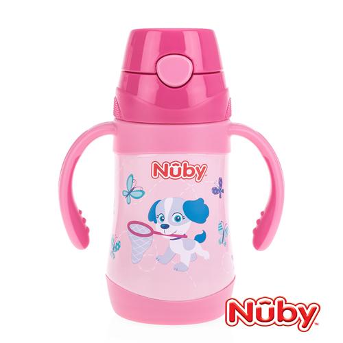 Nuby不鏽鋼真空學習杯(細吸管)-花漾犬_280ml