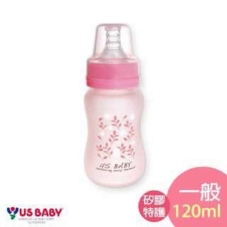 【優生】真母感矽膠特護玻璃奶瓶(一般口徑120ml)-粉