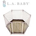 【L.A. Baby 加州貝比】多功能兒童安全自動上鎖圍欄(軟墊卡其色/咖啡色)
