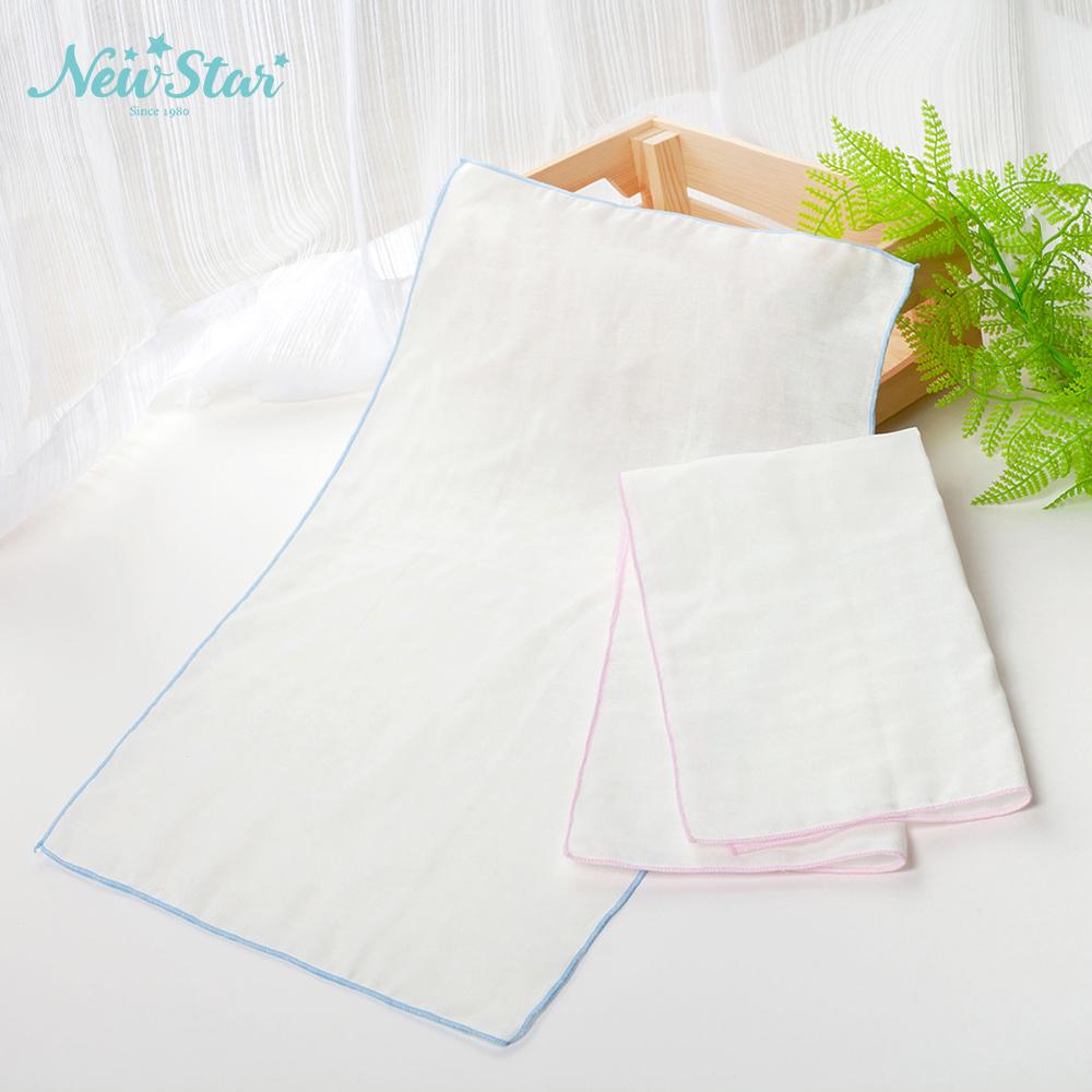 New Star 嬰兒寶寶純棉紗 布巾l棉紗洗澡巾(白、2條入)