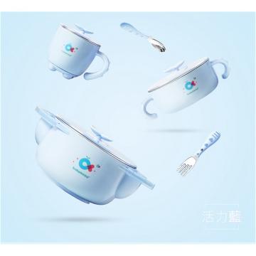 babyhood 不銹鋼兒童餐具5件組-天藍