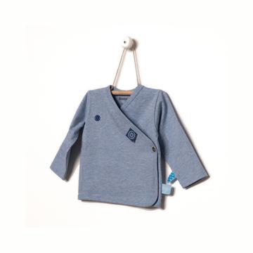 荷蘭Snoozebabay新生兒長袖開襟上衣-青瓷藍/0-6個月