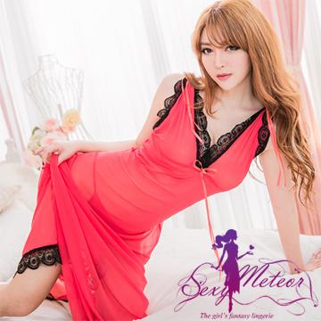 Sexy Meteor A1499-04全尺碼-蔓珠莎華兩穿法深V蕾絲性感長睡衣+丁字褲(二件式性感睡衣組)(珊瑚紅)