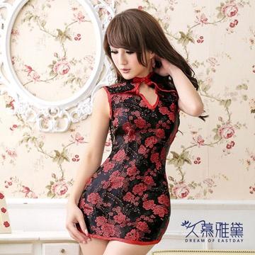 久慕雅黛 新品制服誘惑半透明蕾絲旗袍 短裙睡衣 性感情趣內衣