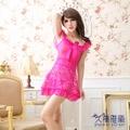 久慕雅黛 性感立體蕾絲花紋 情趣薄紗短裙睡衣 誘惑女士透明內衣粉紅色