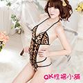 【QK性福小舖】三點性感緊身豹紋連體比基尼女式情趣內衣制服誘惑開襠露乳(QK066)