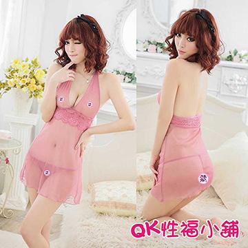【QK性福小鋪】情趣內衣 薄紗露乳性感短裙 情趣睡衣 透明誘惑睡裙 可愛公主服(QK117)