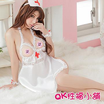 【QK性福小鋪】白色三點式透明誘惑水手空姐學生套裝 情趣內衣性感網紗超短睡裙(QK115)