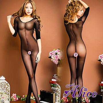 【Alice】女式透明超薄吊帶開檔連體衣透明連身襪絲襪誘惑透視情趣內衣(AK026)