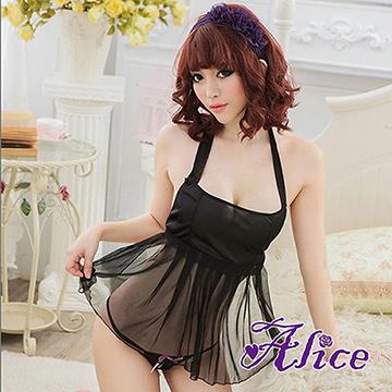【Alice】女士情趣內衣 掛脖露背超短裙 網紗吊帶睡裙 黑色蕾絲圍兜式睡衣(AK089)