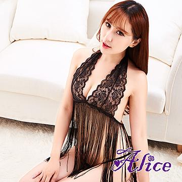 【Alice】歐美性感情趣內衣大碼蕾絲露乳裝誘惑睡衣網紗吊帶裙掛脖流蘇(AK075)