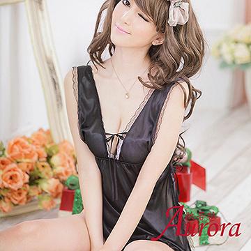 【Aurora 歐若拉】睡衣女夏天吊帶睡裙性感情趣內衣極度誘惑冰絲家居服女夏薄款(AK279)