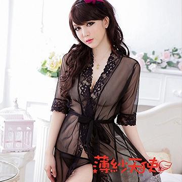 薄紗天使-情趣內衣 開襟腰帶大碼睡袍 雪紡睡裙 誘惑透明內衣 情趣浴袍(AK518)