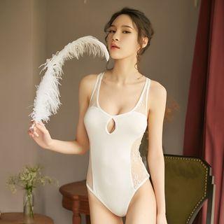 《Alice小女人》蕾絲吊帶連體衣 連身睡衣 情趣內衣 美背蕾絲-白