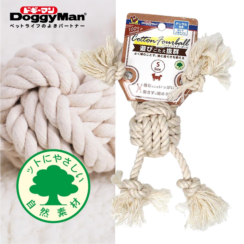 Doggyman 犬用自然素材棉質潔牙四向拉索玩具-S