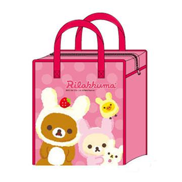 San-X 懶熊草莓兔裝防水拉鍊收納袋。家族。桃