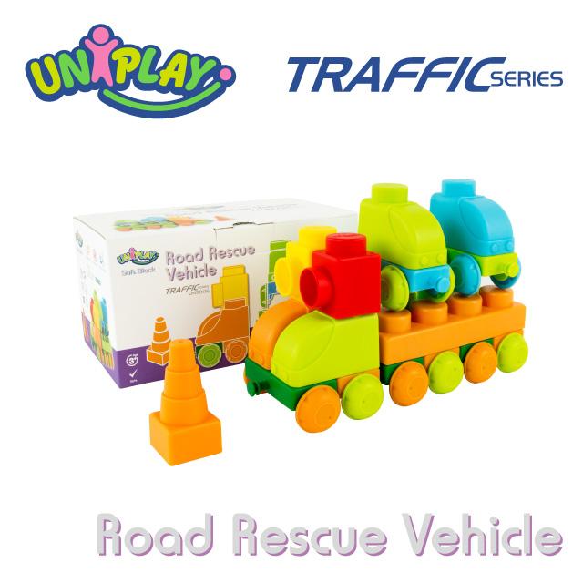 DELSUN UNIPLAY抗菌軟積木 交通系列 道路救援車組