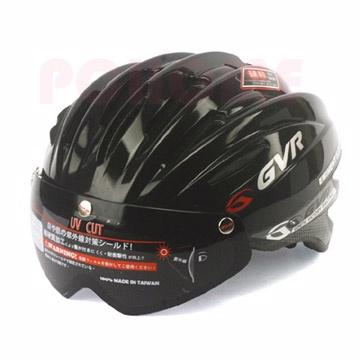 GVR 專業自行車安全帽 (素色款附鏡片)黑色