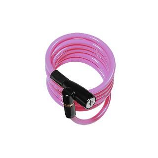 KIDS 彈簧式鑰匙纜線鎖-Pink
