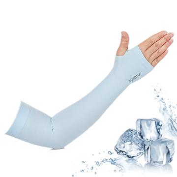 【活力揚邑】指孔涼感萊卡袖套防曬UPF50抗UV防蚊吸濕排汗自行車路跑登山臂套-清涼藍