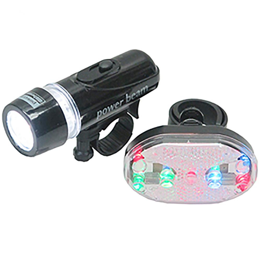 月陽MB自行車超亮5LED貓眼前燈頭燈防水7段7彩9LED尾燈組(HY208)