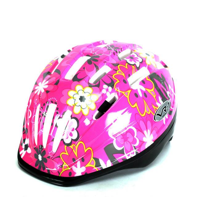 VR-1 兒童自行車安全帽(小花),桃紅色