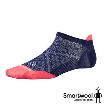 SmartWool女PhD跑步超輕踝襪墨/亮珊瑚