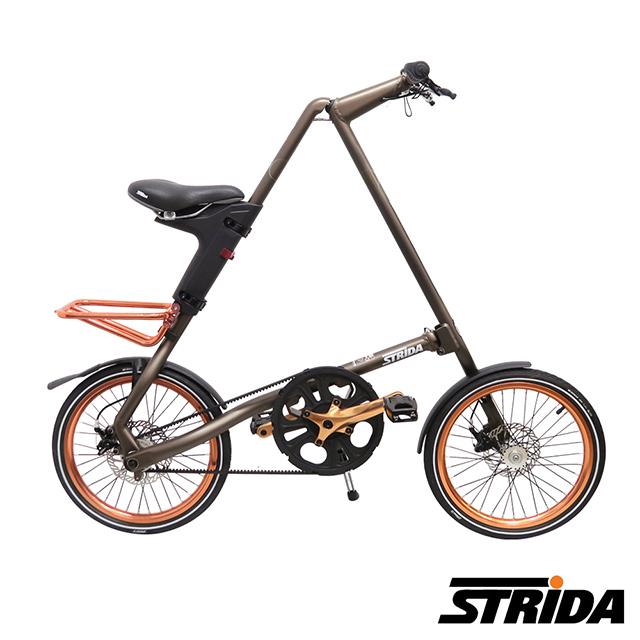 STRiDA速立達 SX特仕版18吋單速碟剎/皮帶傳動/折疊後可推行/三角形單車-霧咖啡