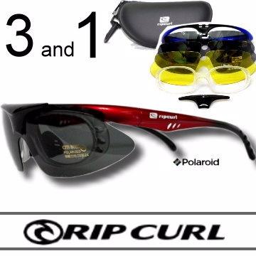 [Rip Curl]抗UV保麗萊偏光運動3合1組UF2025漸層紅/騎車.近視.戶外族專用